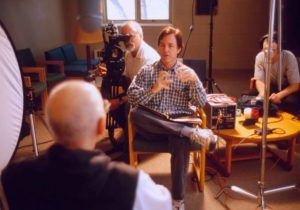 Morgan Atkinson Interviewing a monk at Gethsemani